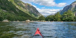 Kajakken in een fjord in Noorwegen in de zomer