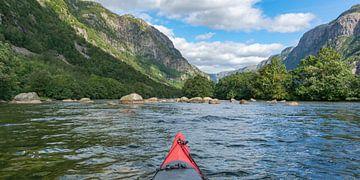 Kajakken in een fjord in Noorwegen in de zomer van