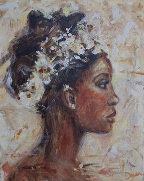 Peinture abstraite d'une femme africaine sur Mieke Daenen