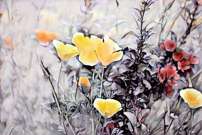 Kalifornischer Mohn mit einer roten Blume von Patricia Piotrak