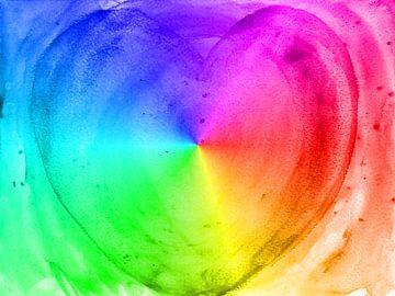 Herz Regenbogen van Katrin Behr