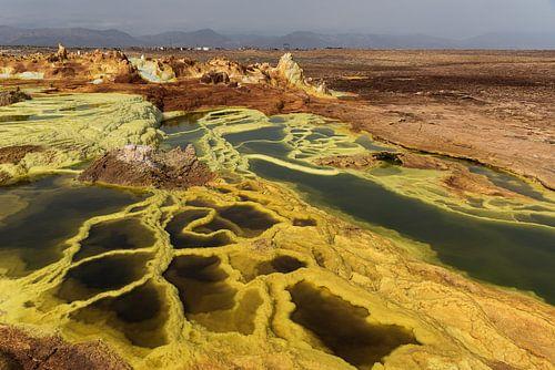 Gele krater een vulkaan in Afrika | Ethiopië