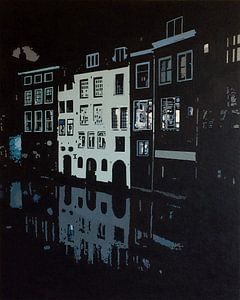Lijnmarkt Utrecht bij nacht van Larissa Beentjes