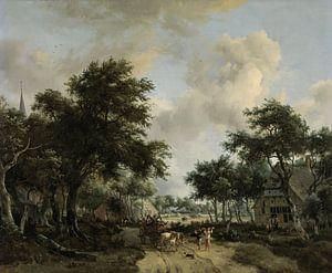 Waldlandschaft mit fröhlicher Gesellschaft im Wagen, Meindert Hobbema