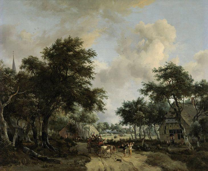 Waldlandschaft mit fröhlicher Gesellschaft im Wagen, Meindert Hobbema von Meesterlijcke Meesters