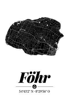 Föhr | Artistieke landkaart | Eilandsilhouet | Zwart en wit van ViaMapia