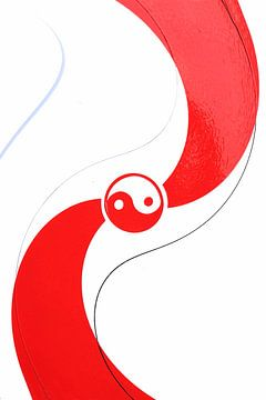 Rood wit yin yang teken van Bobsphotography