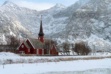 Flakstad Kirke, Lofoten Norway van Ab Wubben