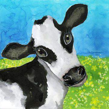 Kuh auf der Weide Aquarell von Bianca Wisseloo