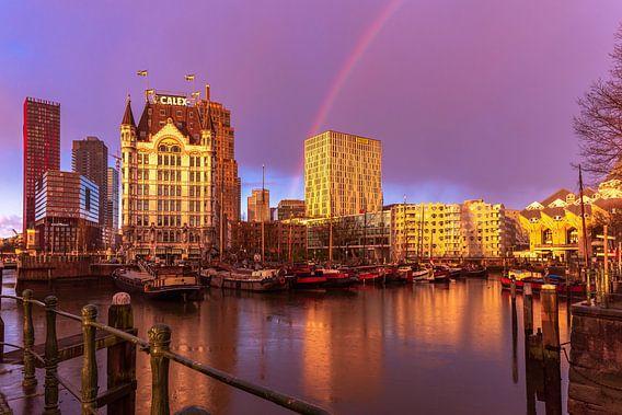 Regenboog boven de Oude Haven