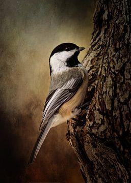 Vogel in brauner Landschaft von Diana van Tankeren