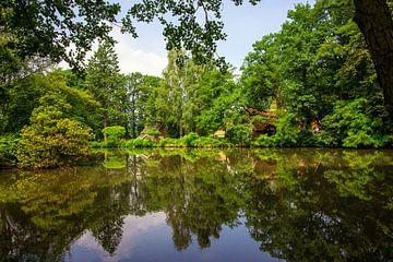Natuurgebied met spiegelglad meer. van Jan van Broekhoven
