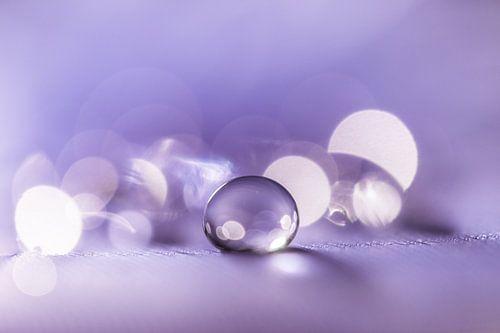 Rustgevende macro van een waterdruppel in paarse tint van