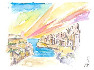 Polignano wunderbarer Morgen am Strand in Süditalien von Markus Bleichner