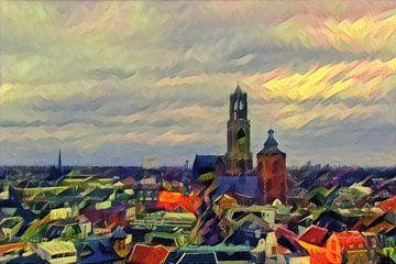 Kunstwerk Utrecht: Warme Skyline met de Utrechtse Dom van Slimme Kunst.nl