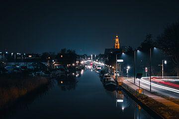 Maassluis de Noordvliet in de nacht van Nathan Okkerse