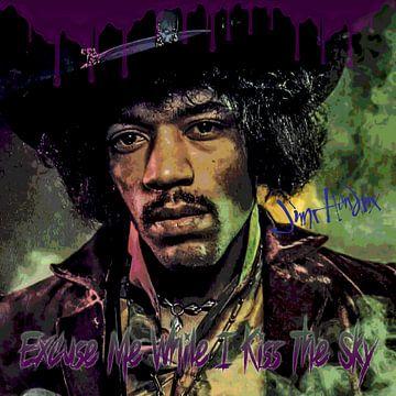 Jimi Hendrix kiss the sky van Rene Ladenius Digital Art