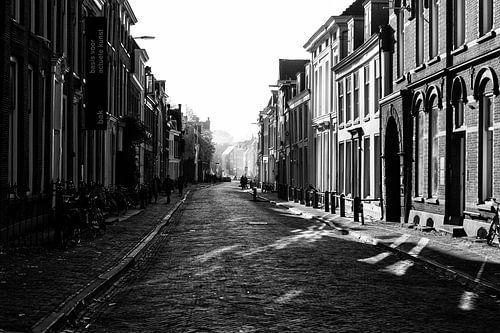 De Lange Nieuwstraat in Utrecht in herfstlicht (monochroom) van