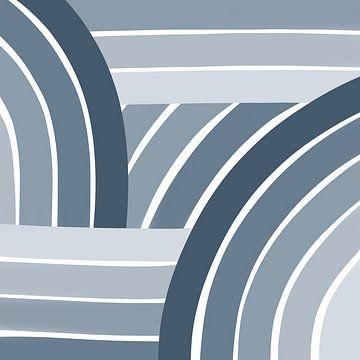 Modern retro - blauw illustratie navy denim van Studio Hinte