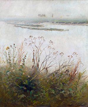 Ladislav Mednyánszky, Bank van een rivier in bloei - 1885 van Atelier Liesjes