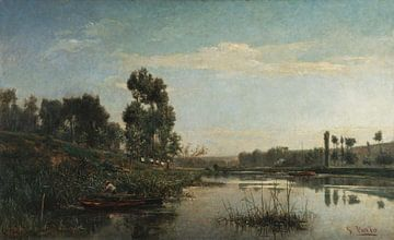 António Carvalho de Silva Porto~Morgenansicht der Ufer der Oise in Auvers