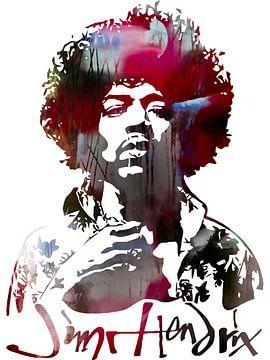 Jimi Hendrix Abstract Portret Stencil Art van Art By Dominic