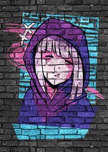 Anime meisje met capuchon