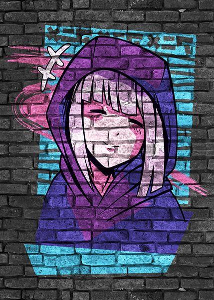 Anime meisje met capuchon van KalliDesignShop