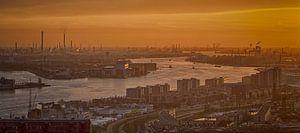 De Rotterdamse Haven bij zonsondergang (Panorama) van Aiji Kley