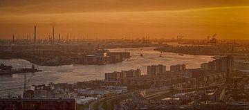 De Rotterdamse Haven bij zonsondergang (Panorama) van