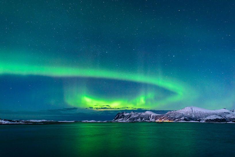 Nordlichter, Polarlicht oder Aurora Borealis im nächtlichen Himmel über Senja von Sjoerd van der Wal