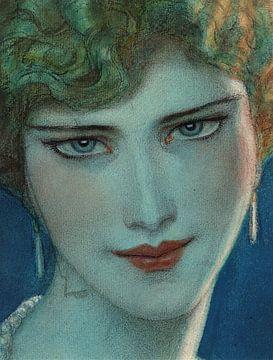 Gesicht eines blonden Mädchens mit Ohrringen, Wladyslaw T. Benda