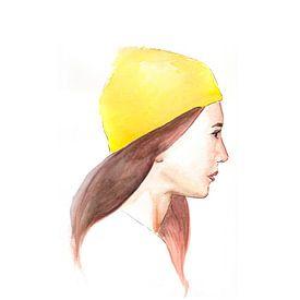 Girl in a lemon beanie. van Jun-Yi Lee
