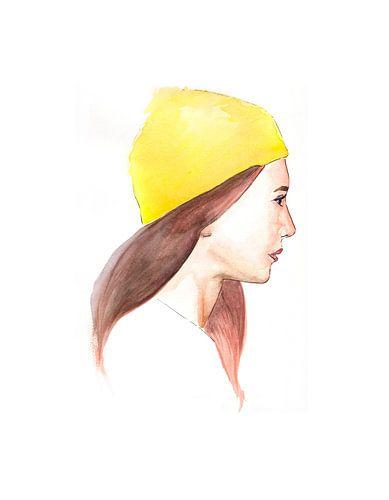 Girl in a lemon beanie. van