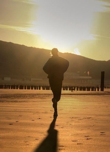 Jogger op strand