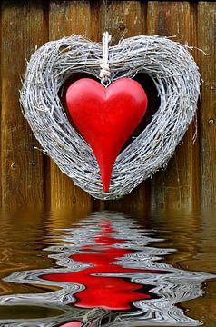 rotes Herz mit Spiegelung van Susanne Herppich