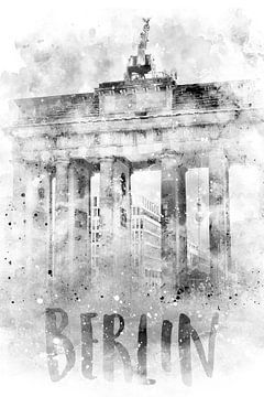 Monochrome Art BERLIN Porte de Brandebourg | Aquarelle sur Melanie Viola