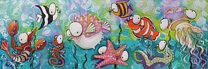 Vrolijke Visjes onder water in Acryl Cartoon stijl van Lineke Lijn