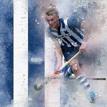 Hockey speler in action van Frank van der Leer