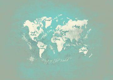 Weltkarte grünes Licht weiß #Karte #Weltkarte von JBJart Justyna Jaszke