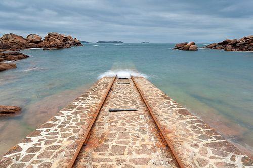 "Boothelling van de reddingsboot ""President Toutain"" bij Ploumanac'h, in Bretagne, Frankrij"