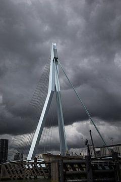 Erasmusbrug in Rotterdam tegen een donkere achtergrond. Wout Kok One2expose van Wout Kok