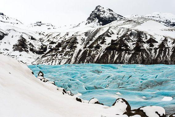 Svinafellsjokull in een sprookjesachtig winterkleed