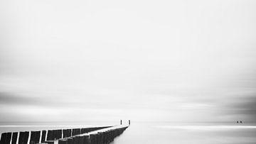 Strand #1 (zwart wit) van Lex Schulte