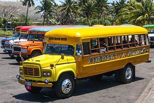 Kleurrijke bussen in Samoa van