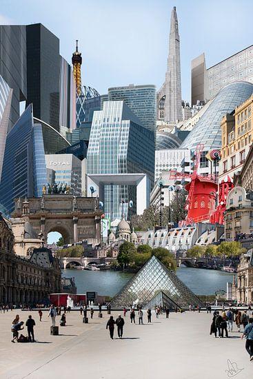 Collage gebrouwen van Parijs - Collage with buildings from Paris van Marianne van der Zee