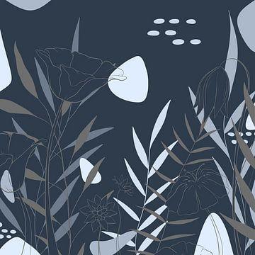 Moderne Bloemen illustratie - Blauw Grijs - Industrieel van Studio Hinte