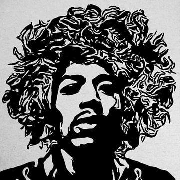 Motiv Porträt Jimi Hendrix Rockstar 1  Edding Action van Felix von Altersheim