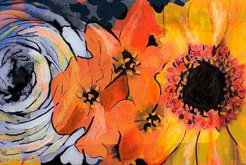 Mischtechnik mit Blumen. von Therese Brals