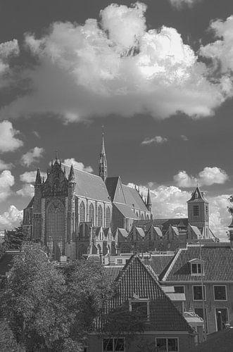 Hooglandse Kerk Leiden vanaf de burcht van